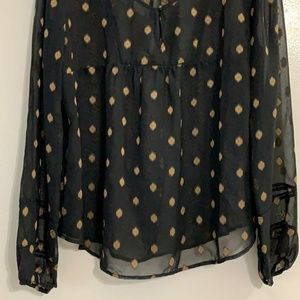 Lucky brand blouse black and gold xl
